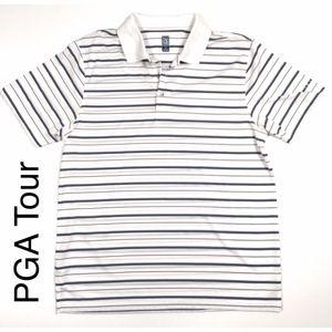 PGA Tour striped ventilated golf shirt